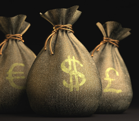 Three bag of money with sign of Euro, Dollar and Pound