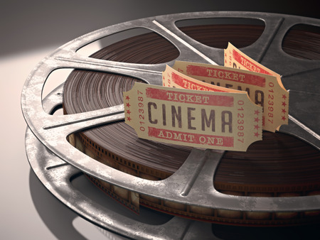 Cinema ticket over rolls of film  Concept of festival of cinema Banco de Imagens - 29866305