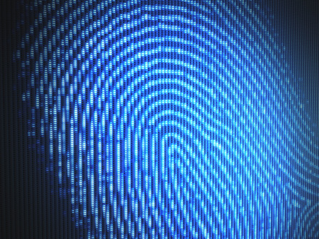 security monitor: Fingerprint on a led screen  Concept of technology