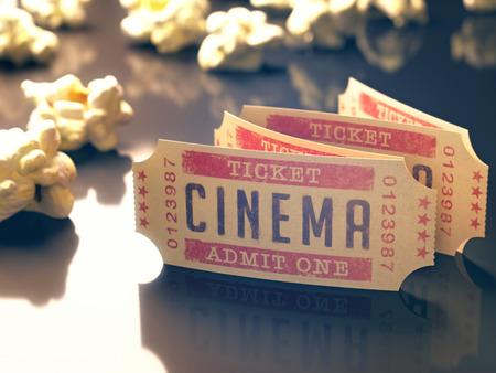 Billet d'entrée au cinéma avec pop-corn autour. Chemin de détourage inclus. Banque d'images - 30194372