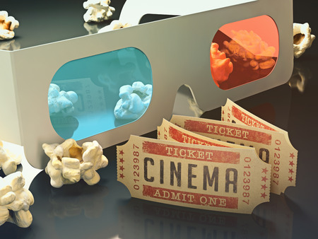 Movie ticket and 3D glasses with popcorn scattered around. Stock Photo - 30198923