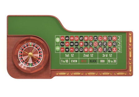 roulette: Il gioco d'azzardo Roulette on white