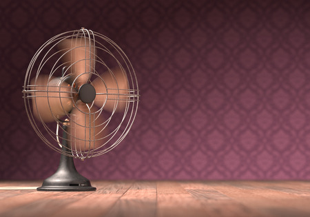 ventilator: Old antique fan on a wooden floor with retro .