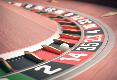 lose: Playing roulette in the casino. Depth of field in the ball. Stock Photo