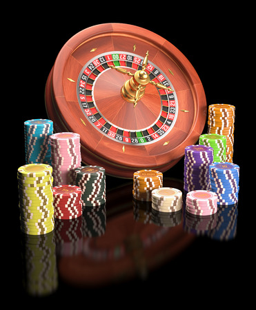 Concept of casino and gambling. Clipping path on the chips. Stock Photo
