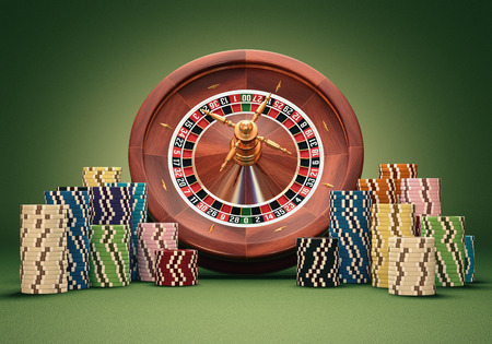casino tokens: Concept of casino and gambling. Clipping path on the chips. Stock Photo