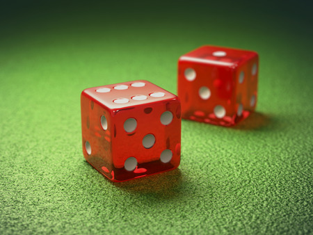 red dice: Red dice on green table gambling. Clipping path included.