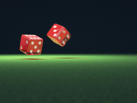 red dice: Two red dice thrown on green table. Your text on the empty space. Stock Photo
