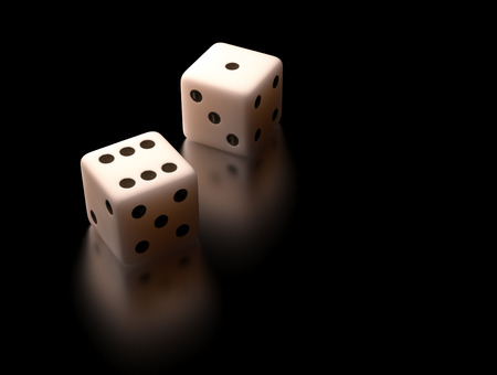 games of chance: Two dice on black reflective background. Clipping path included.