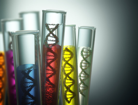 Test tube with dna inside. Concept of manipulation of the genetic code. Clipping path included.