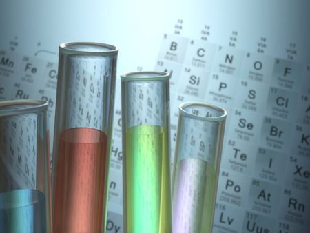 periodic table of the elements: Test tubes with chemical elements inside and periodic table on background. Stock Photo
