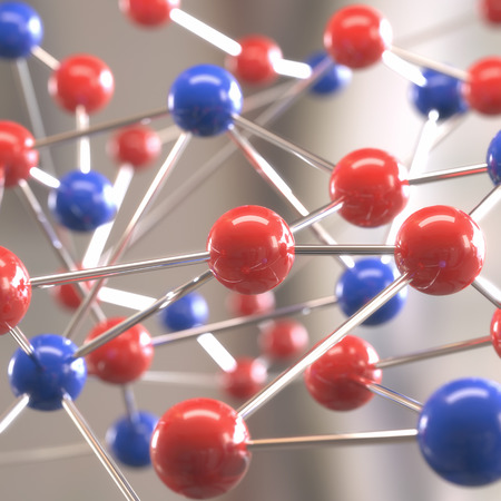 atomic structure: Molecular structure with spheres interconnected with depth of field.