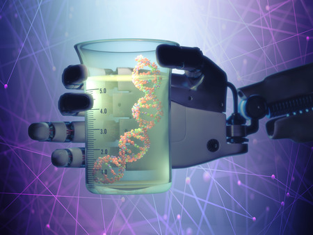 manipulating: Robotic hand holding a test tube with a dna inside. Technology concept manipulating organic life. Stock Photo