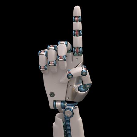 mano robotica: Mano robótica medidas que imitan el esqueleto humano formado y. Aseguramiento camino. Foto de archivo