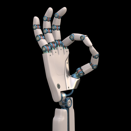 mimic: Robotic hand shaped and measures that mimic the human skeleton. Clipping path included.