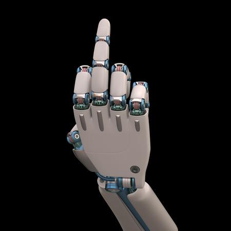 mano robotica: Mano robótica medidas que imitan el esqueleto humano formado y. Trazado de recorte incluido.
