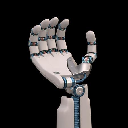 mano robotica: Mano robótica medidas que imitan la forma de esqueleto humano y. Trazado de recorte incluido.