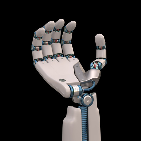 Robotic hand shaped and measures that mimic the human skeleton. Clipping path included.