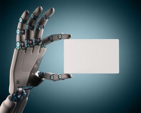 Mano robótica que sostiene una tarjeta en blanco. Su texto en la tarjeta. Aseguramiento camino.