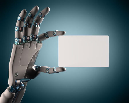 Robotic hand holding a blank card. Your text on the card. Clipping path included. Stock Photo