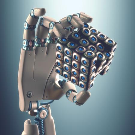 mano robotica: Robot mano que sostiene un concepto cubo binario de procesamiento lógico.