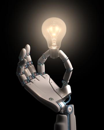 mano robotica: Robot mano que sostiene una bombilla en una tecnología idea conceptual.