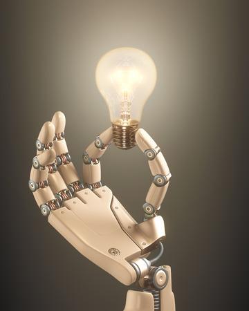 Robot hand holding a bulb on a conceptual idea technology.