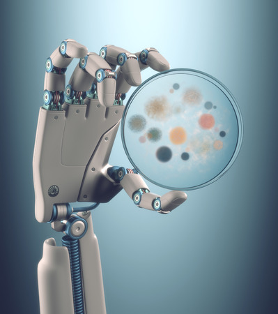 robotic: Robot hand holding a petri dish with colonies of bacteria and fungi.