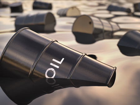 crude oil: Barrels floating on a sea of oil. Concept of environmental disrepair.