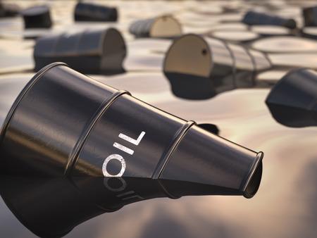 oil barrel: Barriles flotando en un mar de petr�leo. Concepto de deterioro ambiental. Foto de archivo