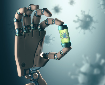 Robotic hand manipulating virus. Concept of technology in combating infectious diseases. Clipping path included.