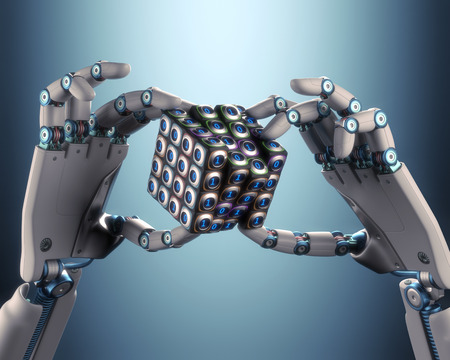 logic: Robot hand holding a binary cube concept of logical processing. Clipping path included.