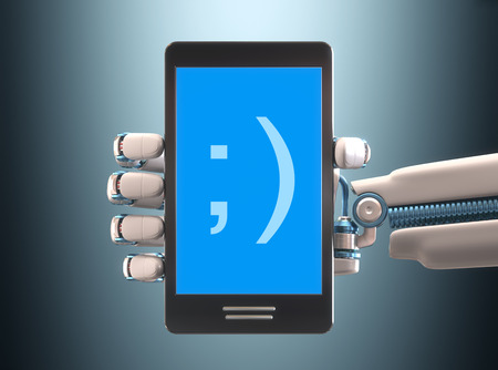 Robot hand holding a cell phone. Your text on the blue screen. Clipping path included. photo