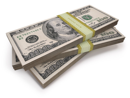 federal reserve: Wads of one hundred dollars notes.