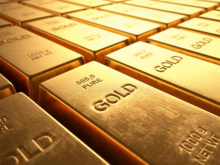 Lingotti d'oro 1000 grammi. Concetto di ricchezza e riserva. Archivio Fotografico - 33098248