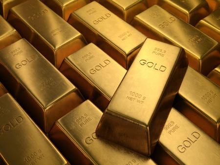 bolsa de valores: Barras de Oro 1000 gramos. La profundidad de campo en la palabra oro.