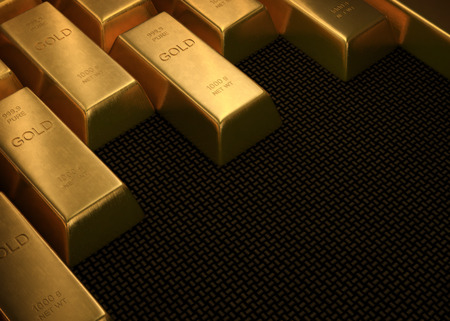 Gold bars on black surface. Your text in space without gold.