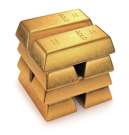Gold Bars on white background. Clipping path included. Imagens