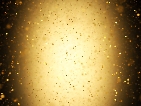 Illuminated background with gold confetti falling with depth of field. Stock Photo