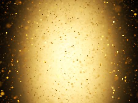 Verlichte achtergrond met gouden confetti vallen met scherptediepte.
