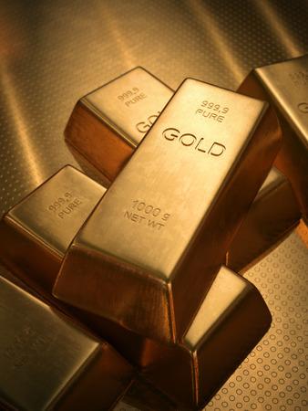 Goudstaven 1000 gram. Scherptediepte op de gouden woord. Stockfoto - 33478233