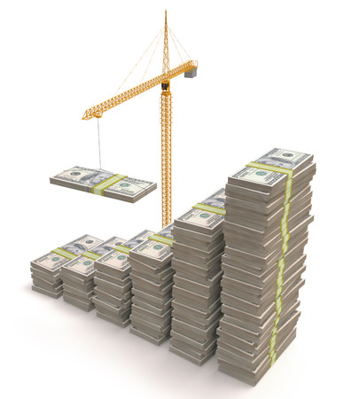 bank building: Building crane making dollars pile. Clipping path included.