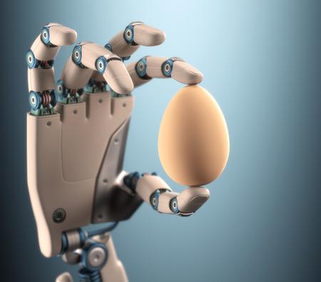 mano robotica: Robot mano que sostiene un huevo de gallina. Foto de archivo