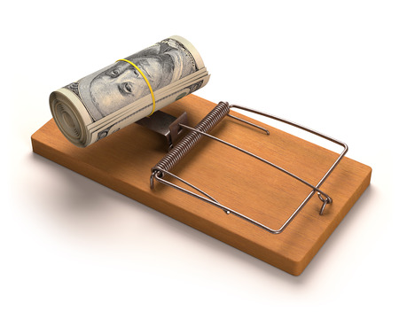 capture: Wad of cash as bait in a trap. Clipping path included. Stock Photo