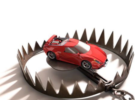pledge: Sports car into a bear trap. Risk concept in high value financing. Stock Photo
