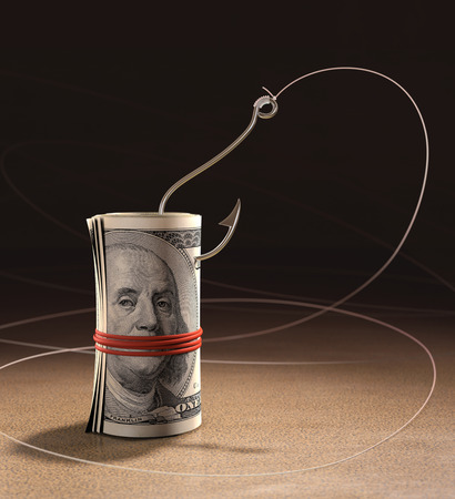benjamin franklin: Cash strapped roll the fishing bait. Fishing the greed of men.