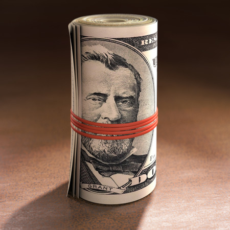 Money roll with elastic gagging the mouth of Ulysses S. Grant.