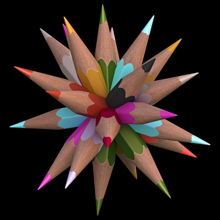 arranged: Colored pencils arranged in sphere. Clipping path included.