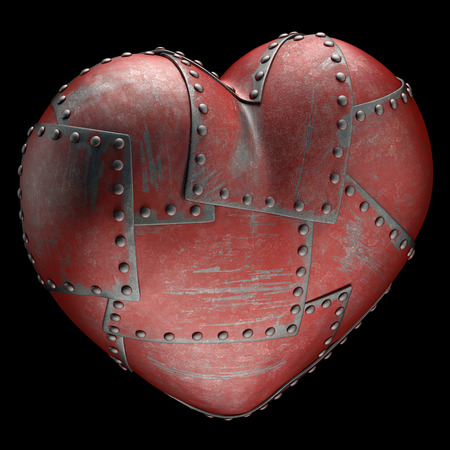 included: Heart made of steel plates attached with rivets. Clipping path included.