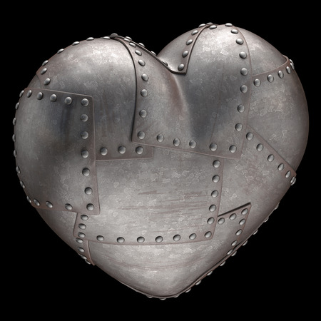 Heart made of steel plates attached with rivets. Clipping path included. photo